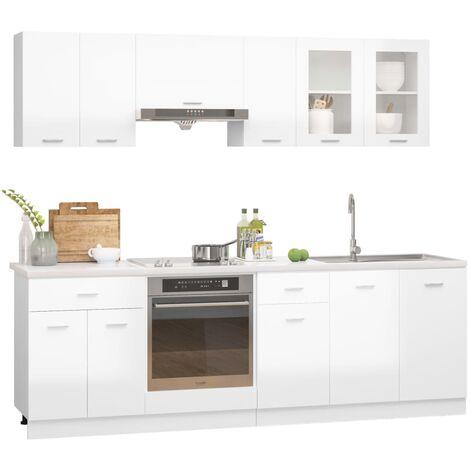 vidaXL Juego de muebles de cocina 8 piezas aglomerado blanco brillo - Blanco