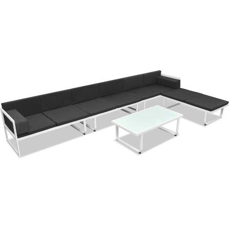 Set de muebles de jardín 5 piezas textilene aluminio negro