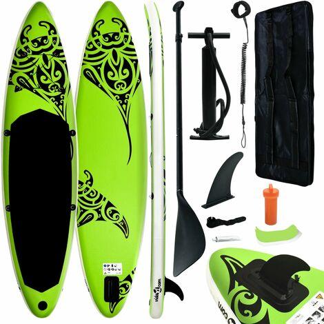 """main image of """"vidaXL Juego de tabla de paddle surf hinchable verde 320x76x15 cm - Verde"""""""