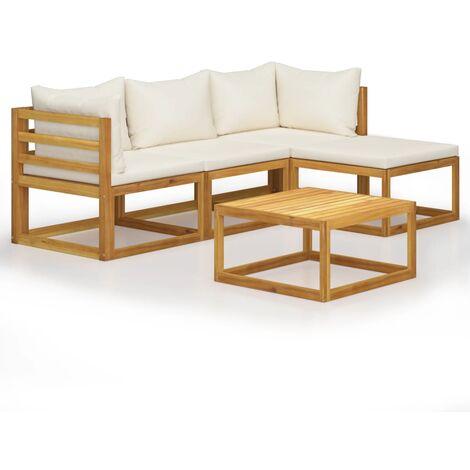 vidaXL Juego muebles de jardín y cojines 5 piezas madera maciza acacia - Marrón
