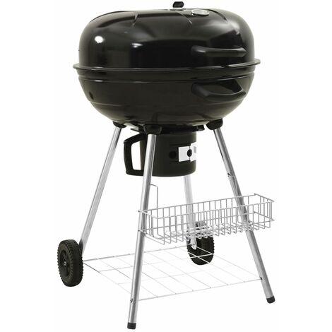 vidaXL Kettle Charcoal BBQ Grill 73x58x96 cm Steel - Black