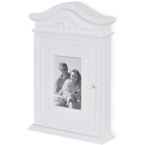 vidaXL Key Cabinet with Photo Frame White - White