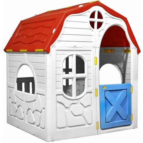 vidaXL Kids Foldable Playhouse with Working Door and Windows - Multicolour