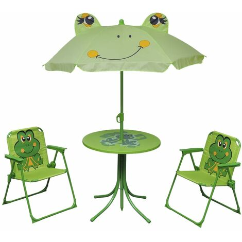 vidaXL Kids' Garden Furniture Set 4 Piece Patio Table Chair Umbrella Red/Green
