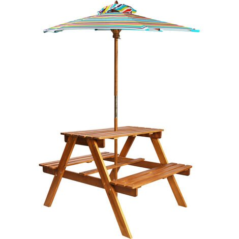 vidaXL Kids Picnic Table with Parasol 79x90x60 cm Solid Acacia Wood - Brown