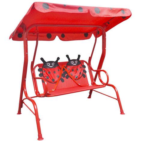 vidaXL Kids Swing Seat Outdoor Kids Children Hammock Chair Canopy Red/Green