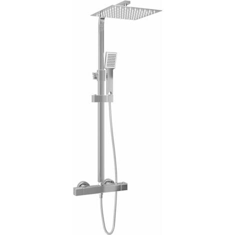 vidaXL Kit de ducha combinado con termostato acero inoxidable - Plateado