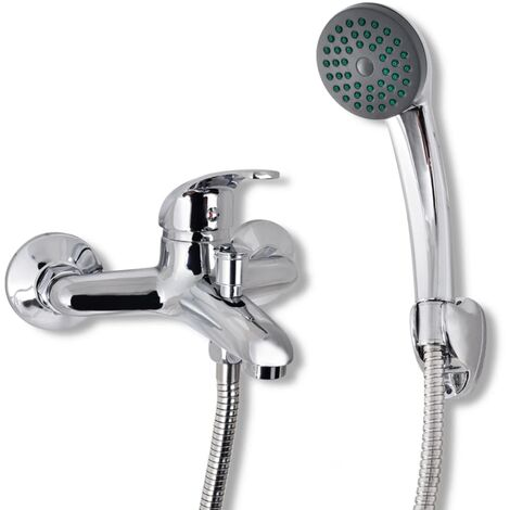 vidaXL Kit de grifo mezclador para ducha de baño cromado - Plateado