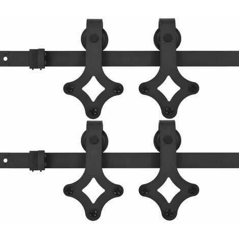 vidaXL Kit de herrajes de puertas correderas acero negro 2 uds 183 cm - Negro