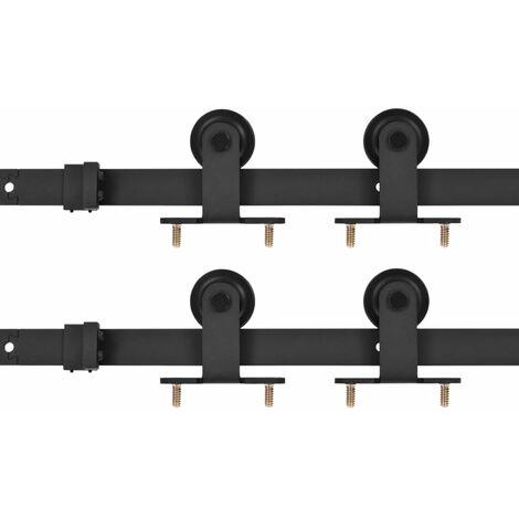 vidaXL Kit de herrajes de puertas correderas acero negro 2 uds 200 cm - Negro