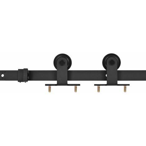 vidaXL Kit de herrajes para puerta corredera acero negro 183 cm - Negro