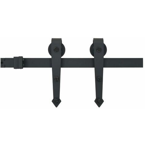 vidaXL Kit de herrajes para puertas correderas acero negro 200 cm - Negro