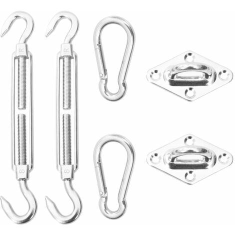 vidaXL Kit de montaje para toldo de vela 6 piezas acero inoxidable - Plateado