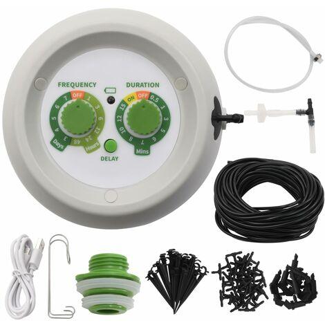 vidaXL Kit de riego por goteo automático jardín con controlador - Multicolor