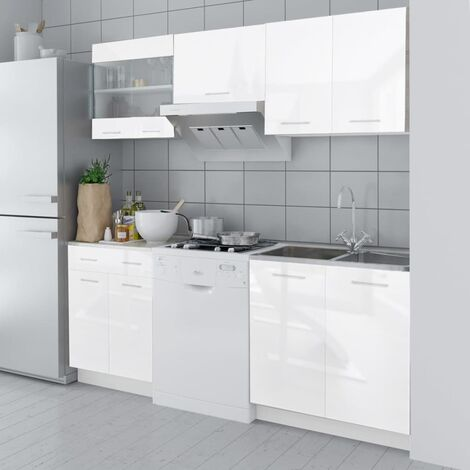vidaXL Kitchen Cabinet Unit 5 Pieces High Gloss White 200 cm - White