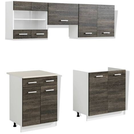 vidaXL Kitchen Cabinet Unit 5 Pieces Wenge Look - Brown