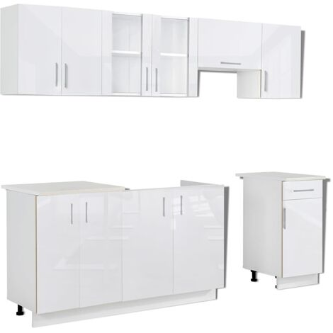vidaXL Kitchen Cabinet Unit 7 Pieces High Gloss White 240 cm - White