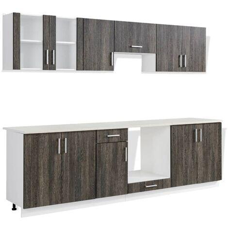 vidaXL Kitchen Cabinet Unit 8 Pieces Wenge Look - Brown