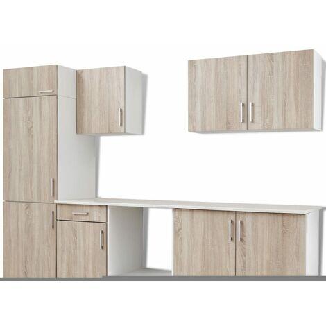 vidaXL Kitchen Cabinet Unit Built-in Fridge 7 Pieces Oak Look - Brown
