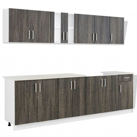 vidaXL Kitchen Cabinet with Sink Base Unit 8 Pieces Wenge Look - Brown