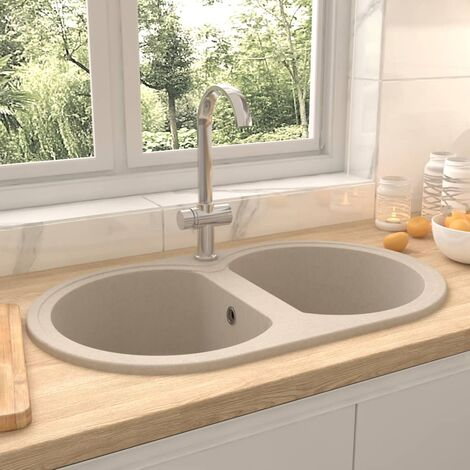 vidaXL Kitchen Sink Double Basins Oval Beige Granite - Beige