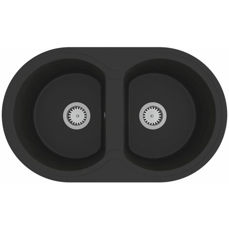 vidaXL Kitchen Sink Double Basins Oval Black Granite - Black