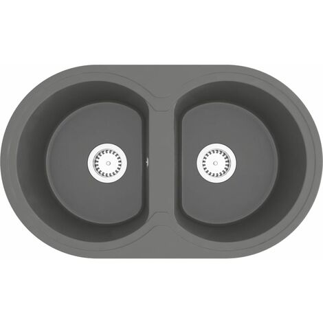 vidaXL Kitchen Sink Double Basins Oval Grey Granite - Grey