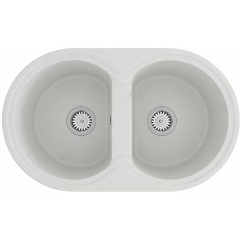 vidaXL Kitchen Sink Double Basins Oval White Granite - White