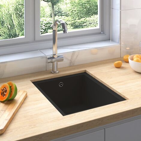 vidaXL Kitchen Sink with Overflow Hole Black Granite - Black