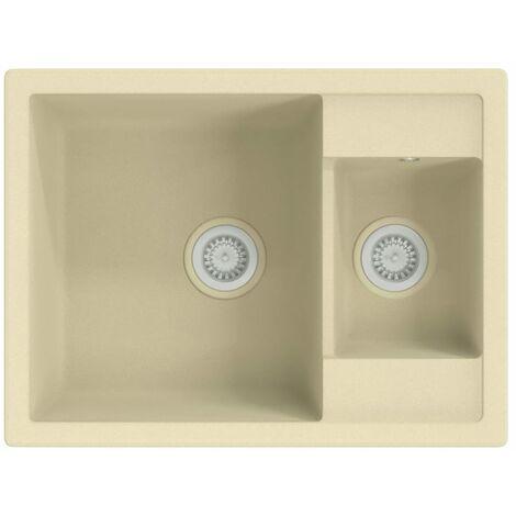 vidaXL Kitchen Sink with Overflow Hole Double Basins Beige Granite - Beige