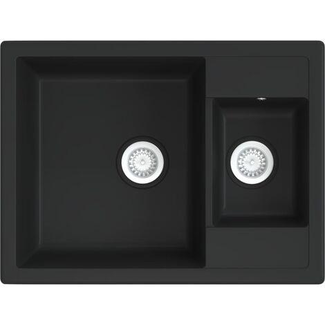 vidaXL Kitchen Sink with Overflow Hole Double Basins Black Granite - Black