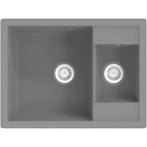 vidaXL Kitchen Sink with Overflow Hole Double Basins Grey Granite - Grey