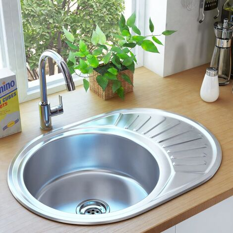 vidaXL Kitchen Sink with Strainer and Trap Oval Stainless Steel - Silver