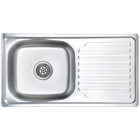 vidaXL Kitchen Sink with Strainer and Trap Stainless Steel - Silver