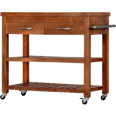 vidaXL Kitchen Trolley 100x48x89 cm Solid Acacia Wood - Brown
