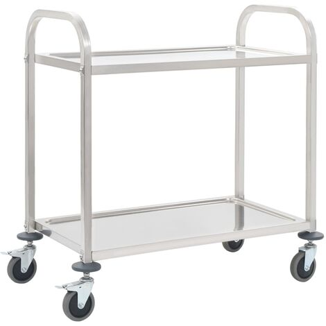 vidaXL Kitchen Trolley Dining Breakfast Serving Storage Cart on Wheels Rack Stand Workstation Organiser Stainless Steel Multi Sizes