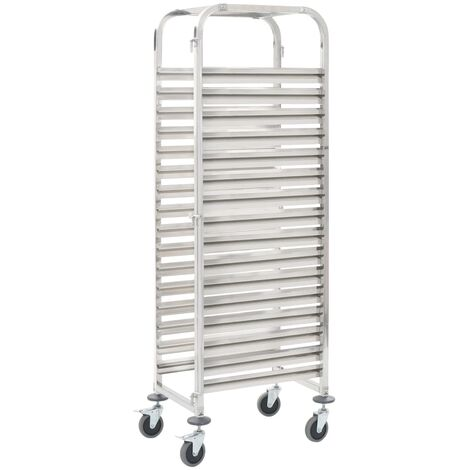 vidaXL Kitchen Trolley for 16 Trays 38x55x163 cm Stainless Steel - Silver