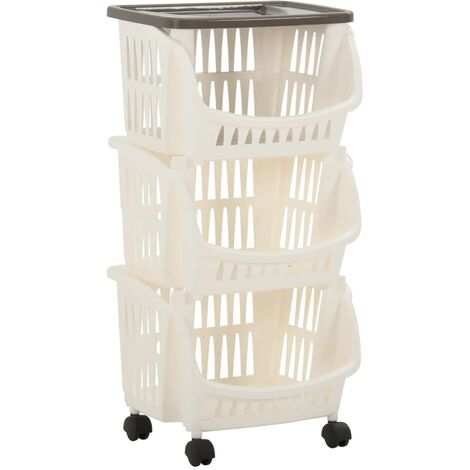 """main image of """"vidaXL Kitchen Trolley White and Taupe - White"""""""