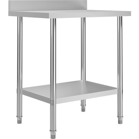 "main image of ""vidaXL Kitchen Work Table with Backsplash 80x60x93 cm Stainless Steel"""