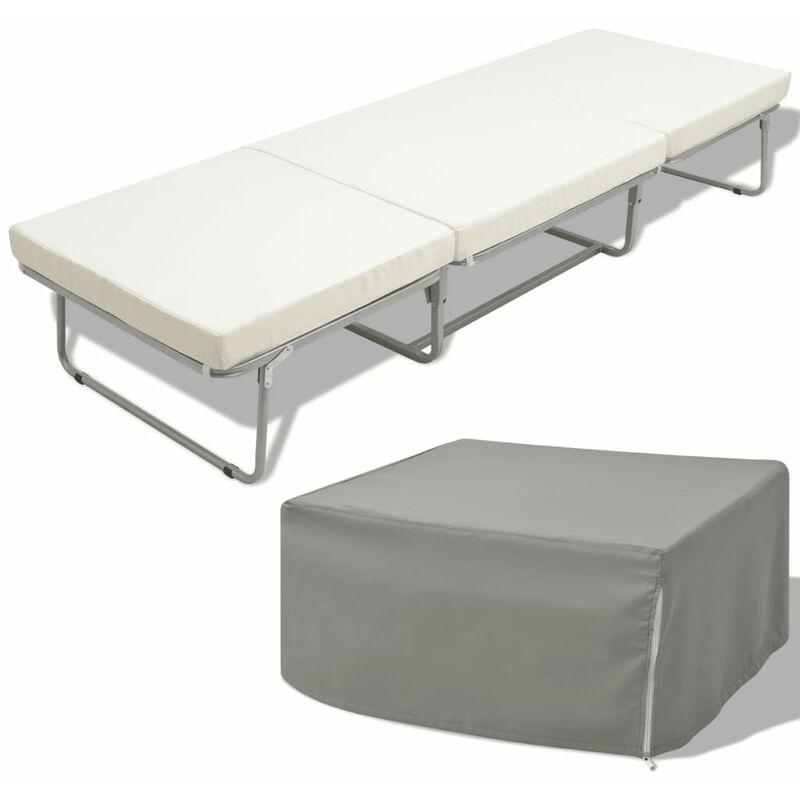Vidaxl - Klappbett mit Matratze Weiß Stahl 70×200 cm
