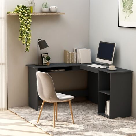 vidaXL L-Shaped Corner Desk Gaming Gamer Command Center Workstation Home Office Writing Computer Table Chipboard 120x140x75cm Multi Colours