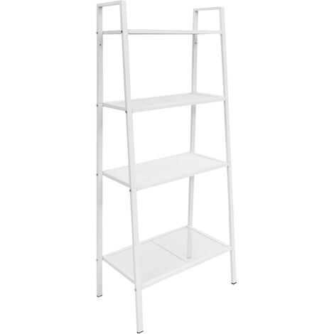 vidaXL Ladder Bookcase 4 Tiers Metal Standing Shelves Display Rack Black/White