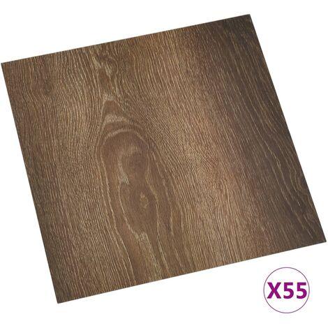 vidaXL Lamas para suelo autoadhesivas 55 piezas PVC 5,11 m² marrón - Marrón