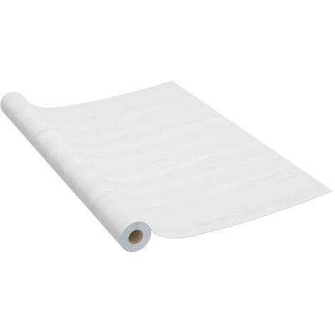 vidaXL Láminas autoadhesivas para muebles PVC madera blanca 500x90 cm - Blanco