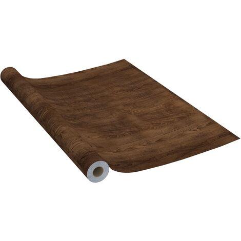vidaXL Láminas autoadhesivas para muebles PVC roble oscuro 500x90 cm - Marrone