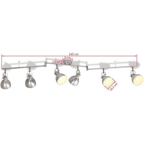 Lampadario per 6 Lampadine E14 Grigio - 244402IT