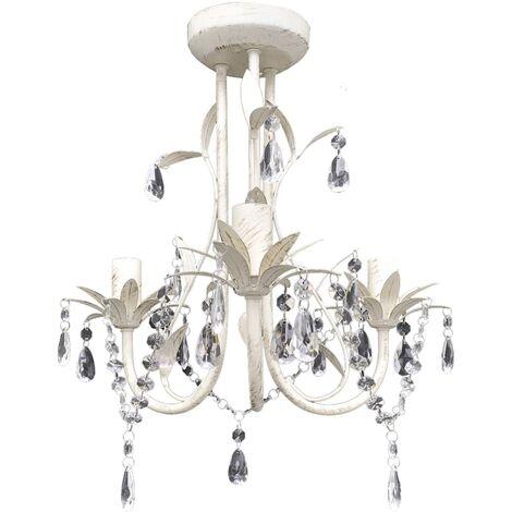 vidaXL Lampara colgante arana de cristal elegante blanca