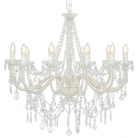 vidaXL Lámpara de araña con cuentas blanco 12 bombillas E14 - Blanco