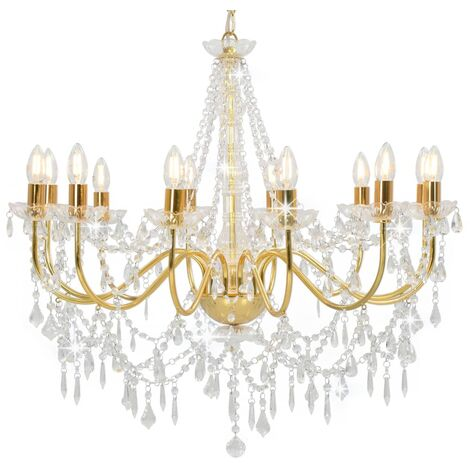 vidaXL Lámpara de araña con cuentas dorado 12 bombillas E14 - Oro