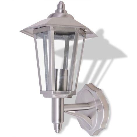 vidaXL Lámpara de pared vertical para exterior de acero inoxidable - Plateado